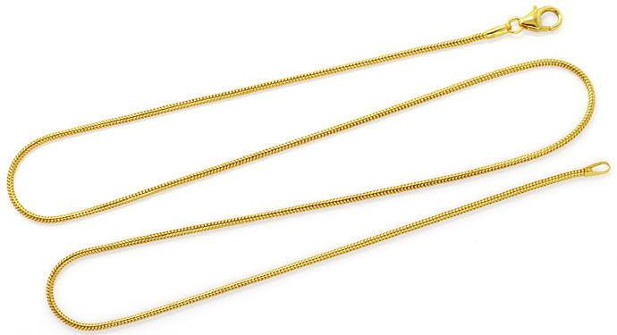 Foto 1, Gelbgold-Schlangenkette 45cm Länge Karabiner massiv 18K, Z0001
