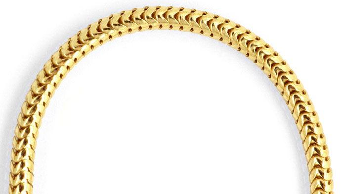Foto 2, Gelbgold-Schlangenkette 45cm Länge Karabiner massiv 18K, Z0001