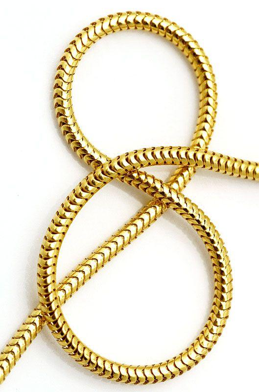 Foto 4, Gelbgold-Schlangenkette 45cm Länge Karabiner massiv 18K, Z0001