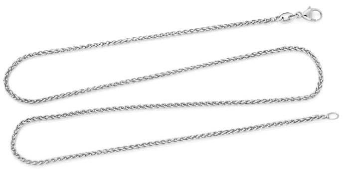 Foto 1, Zopf-Goldkette Zopfkette, 46cm lang, 18 Karat Weissgold, Z0004