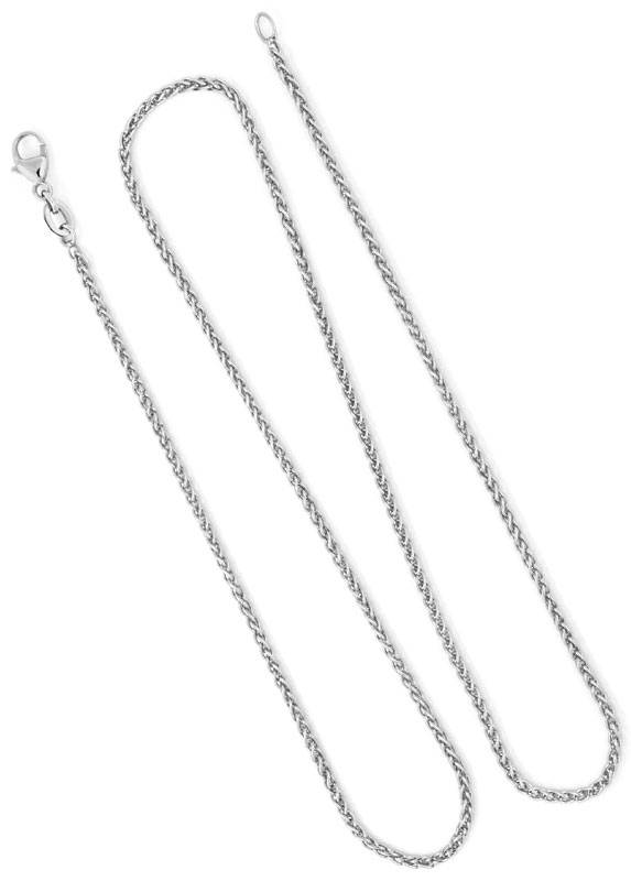 Foto 4, Zopf-Goldkette Zopfkette, 46cm lang, 18 Karat Weissgold, Z0004