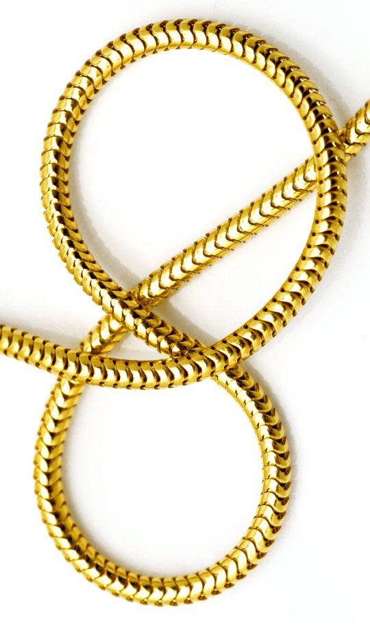 Foto 4, Massive flexible Schlangen Goldkette 45cm, 14K Gelbgold, Z0101