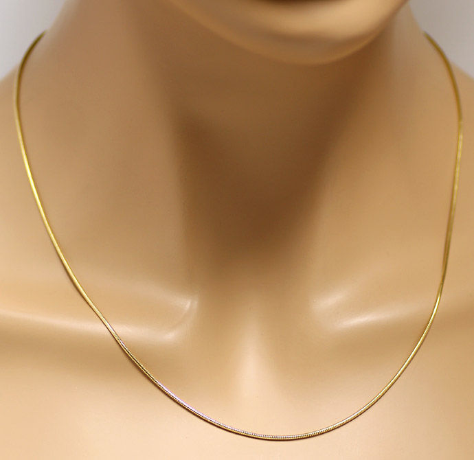 Foto 6, Massive flexible Schlangen Goldkette 45cm, 14K Gelbgold, Z0101