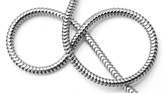 Foto 4, Schlangen Kette 45cm Länge massiv 14K Weissgold, Z0102