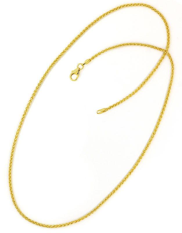 Foto 4, Massive Goldkette Zopfkette 45cm lang 14K Gelbgold, Z0103
