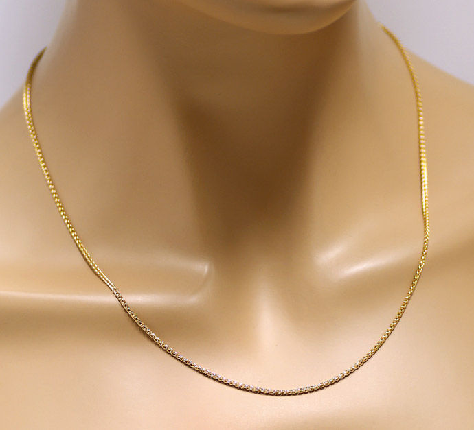 Foto 5, Massive Goldkette Zopfkette 45cm lang 14K Gelbgold, Z0103