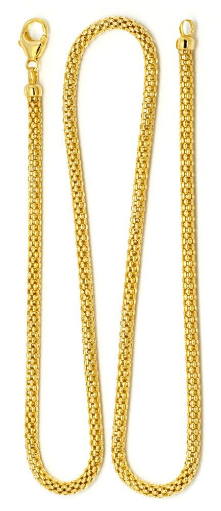 Foto 6, Himbeer Panda Gold-Kette in 14K Gelbgold Goldkette Shop, Z0105