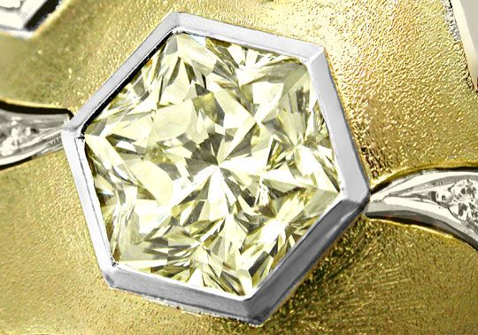 Diamant Fire-Rose Schliff, Hexagon Cut Diamond, Zitrone - Yellow