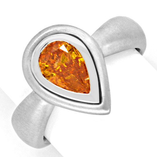 Handarbeitsring mit Diamant-Tropfen Fancy Intense Orange Yellow